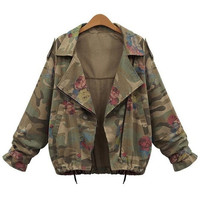 New Women's Camouflage Jackets Coat Zipper Denim Coats = 1930056132