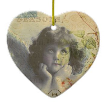 French Postcard Ceramic Ornament