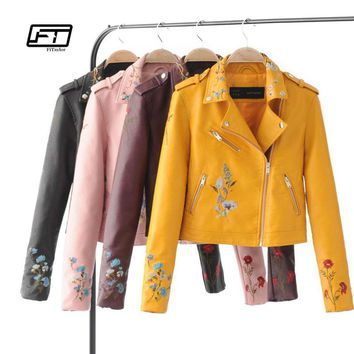 Fitaylor Biker Jacket Women Embroidered Bomber Faux Leather Jacket Floral Print Pink Black Motorcycle Leather Jacket