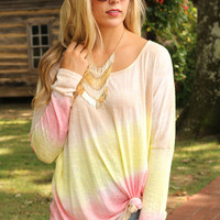 Painted Sunset Lemon Dip Dyed Top