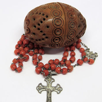 Antique French, Coral And Silver Rosary And Coquilla, Tagua Nut Box