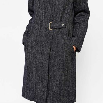 French Connection City Denim Wool Wrapover Coat at asos.com