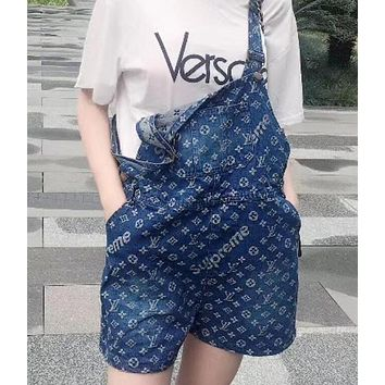 LV X Supreme Fashion Women Summer Shortall Loose Denim Strap Overalls I12289-1