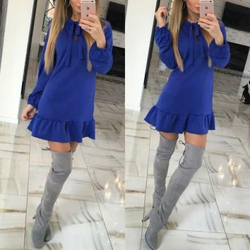 Blue Plain Ruffle Bow Round Neck Long Sleeve Mini Dress