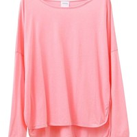 Relaxed Style Semi-arc Vent Loose Fit T-shirt With Long Sleeves