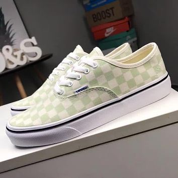 Vans Old Skool Fashion Classic Green White Checkerboard Pattern Canvas Flats Sneakers Sport Shoes I-CQ-YD