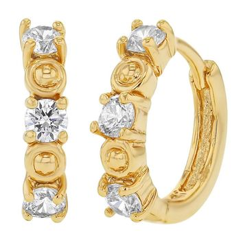 """14k Gold Plated Prong Set Clear CZ Small Hoop Huggie Womens Earrings 0.47"""""""