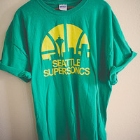 90's Sonics Seattle Supersonics  Vintage Tee  T-shirt Green  2XL Double Extra Large  Oversized Slouchy Classic Old School