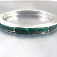 Sterling Silver Malachite Bracelet, Heavy Thick Bangle Cuff, Vintage Mexico Signed TV-11 Malachite Inlay Jewelry,