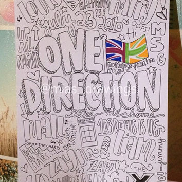 One Direction Collage black and white mostly by Miasdrawings