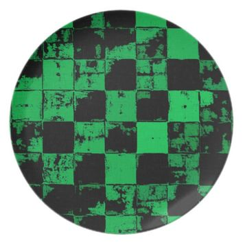 Grunge squares, black and green bricks pattern melamine plate
