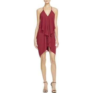 Olivaceous Womens Ruffled Drape Back Cocktail Dress