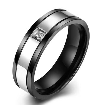 JEXXI Small Cubic Zircon Crystal Men Rings Black Stainless Steel Finger Ring Fashion Punk Style Finger Ring Wedding Jewelry Gift