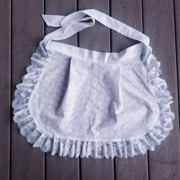 Whte  Cotton ruffle apron, Christmas gift for Girls French Maid apron, House warming gift for Her, Old Fashioned White half apron,