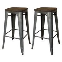 "Threshold™ Hampden 29"" Industrial Barstool with Wood Top (Set of 2)"