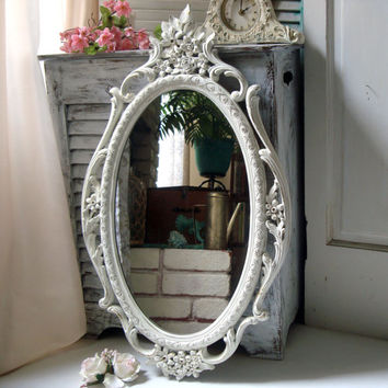Cottage White Ornate Oval Mirror, Vintage Shabby Chic Large Mirror, Distressed Off White Mirror, Bathroom Mirror, French  Cottage Decor