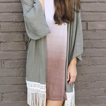 Gray Tassel Hem Collarless Cardigan