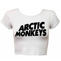 Artic Monkeys tshirt artic monkeys t shirt crop top artic tank WHITE