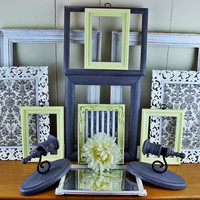 White Grey and Yellow Open Frame Gallery Collection , Wall Decor , Baby Nursery Decoration , Shabby Chic Rooms