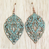 Antique Turquoise Spade Earrings