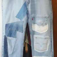 "Levis Denim Jeans Worn In Patched Leg Pockets Boyfriend Destroyed Distressed Butt Patches Woodstock Festival Waist 38"" Holes High Waist Boot"