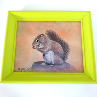 vintage squirrel wall art, neon decor, framed print, lime green, woodland, upcycled frame, squirrels, wall decor, kitsch, retro