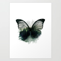 Double Butterfly Art Print by Cafelab