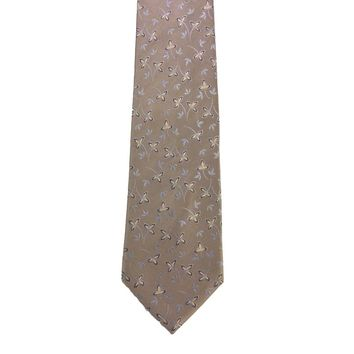 Nautica Flower Print Foulard Wide Silk Tie - Tan