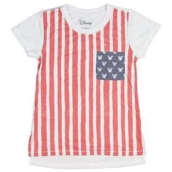Disney Mickey Mouse Shirt For Girls' American Flag Ears Pattern T-Shirt Short Sleeve Top