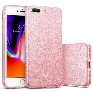"iPhone 8 Plus Case, iPhone 7 Plus Case, ESR Glitter Sparkle Bling Case [Three Layer] [Supports Wireless Charging] for Apple 5.5"" iPhone 8 Plus/7 Plus(Rose Gold)"