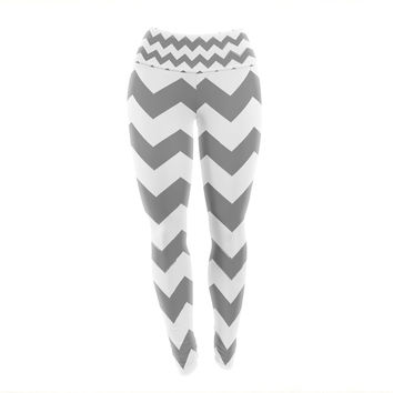 "KESS Original ""Candy Cane Gray"" Chevron Yoga Leggings"