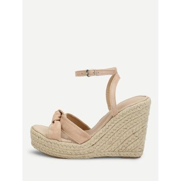 Knot Detail Espadrille Wedges