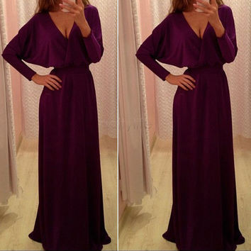 Plus Size XL Wo Ladies Elegant Party Dresses Casual Batwing Sleeved Sexy V-neck Maxi Long Floor Length Dress 31