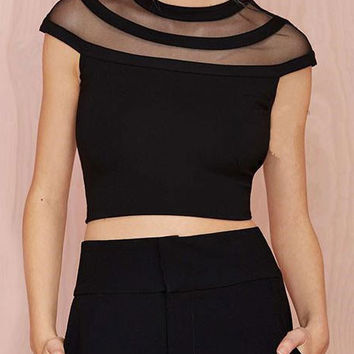 Shoulder Gauze Stitching  Short Cropped T-shirt