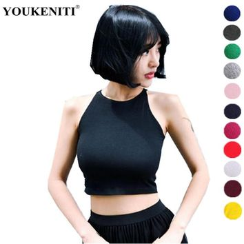 YOUKENITI 2018 New Candy Color Women's Brand Design Crop Tank Tops Leak Navel Slim Sexy Female Tops Fitness Cotton T-shirt