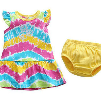 Fashion Rainbow Baby Girl's Dress PP Pants Suits Baby's Sets Outfits Summer Dresses Free Shipping