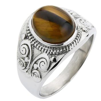 Valily Jewelry Simple Oval Tiger eye Silver Ring For Men Stainless Steel Trendy Red CZ Gold Wedding band Rings Women Jewelry