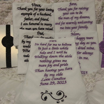 Mom, Dad, Mother andFather of groom and Maid of honor/Flower girl Personalized Wedding Handkerchief. Free Gift Box included.