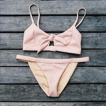 Hot Face Beach Trend Pink Bathing Suit Sexy Chest Tie Two Pieces Of Bikini
