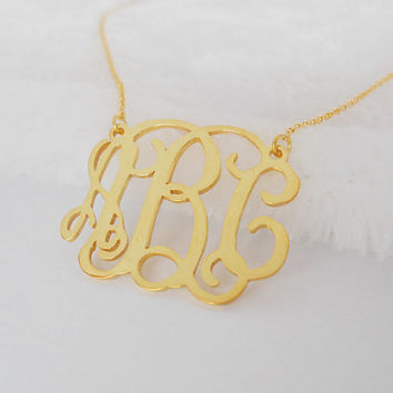 Gold Monogrammed Necklace 1 inch,Monogram Initial Necklace,Custom Nameplate Necklace,Personalized Pendant Necklace,Monogram Necklace Small