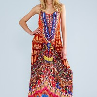 Parides Heritage Red Cami Long Dress