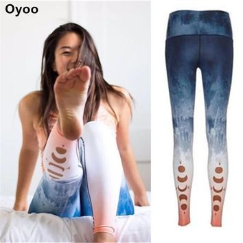 Oyoo Women Pink Yoga Pants Ombre Moon Printed Running Fitness Gym Active Sport Leggings Female Wokout Tights Clothing Sportswear