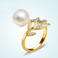 Shiny Jewelry Gift New Arrival Korean Stylish Leaf Pearls 925 Silver Ring [7652918279]