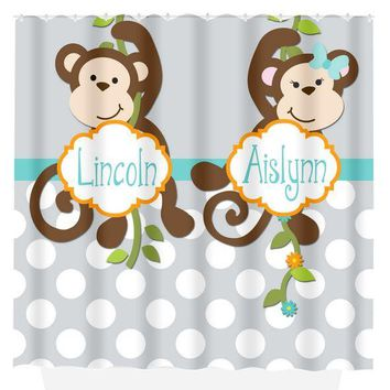 Monkey SHOWER CURTAIN Custom Monogram Personalized Monkey Bathroom Brother Sister Bathroom Bath Towel,  Bath Mat