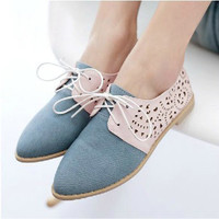 British Style Sweet Pointed Toe Cutout Denim Flats