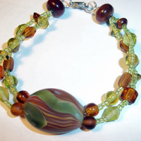 Blown Glass Bead, Beaded Bracelet, Lampwork, Cgge Team, One of a Kind, Ready for shipping