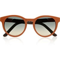 The Row Round-frame leather-trimmed acetate sunglasses – 45% at THE OUTNET.COM