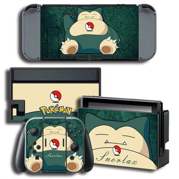The Legend of  Go Snorlax Vinyl Skin Sticker for Nintendo Switch NS Console Protector Cover Decal Vinyl Skins StickerKawaii Pokemon go  AT_89_9