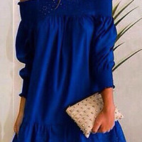 Blue Slash Collar Lace Dress