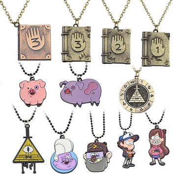 Gravity Falls Journal 3 Diepsloot Diary LOGO Necklace Dipper Mabel Stan Pig ball Pendant Necklaces Children Jewelry Dropshipping